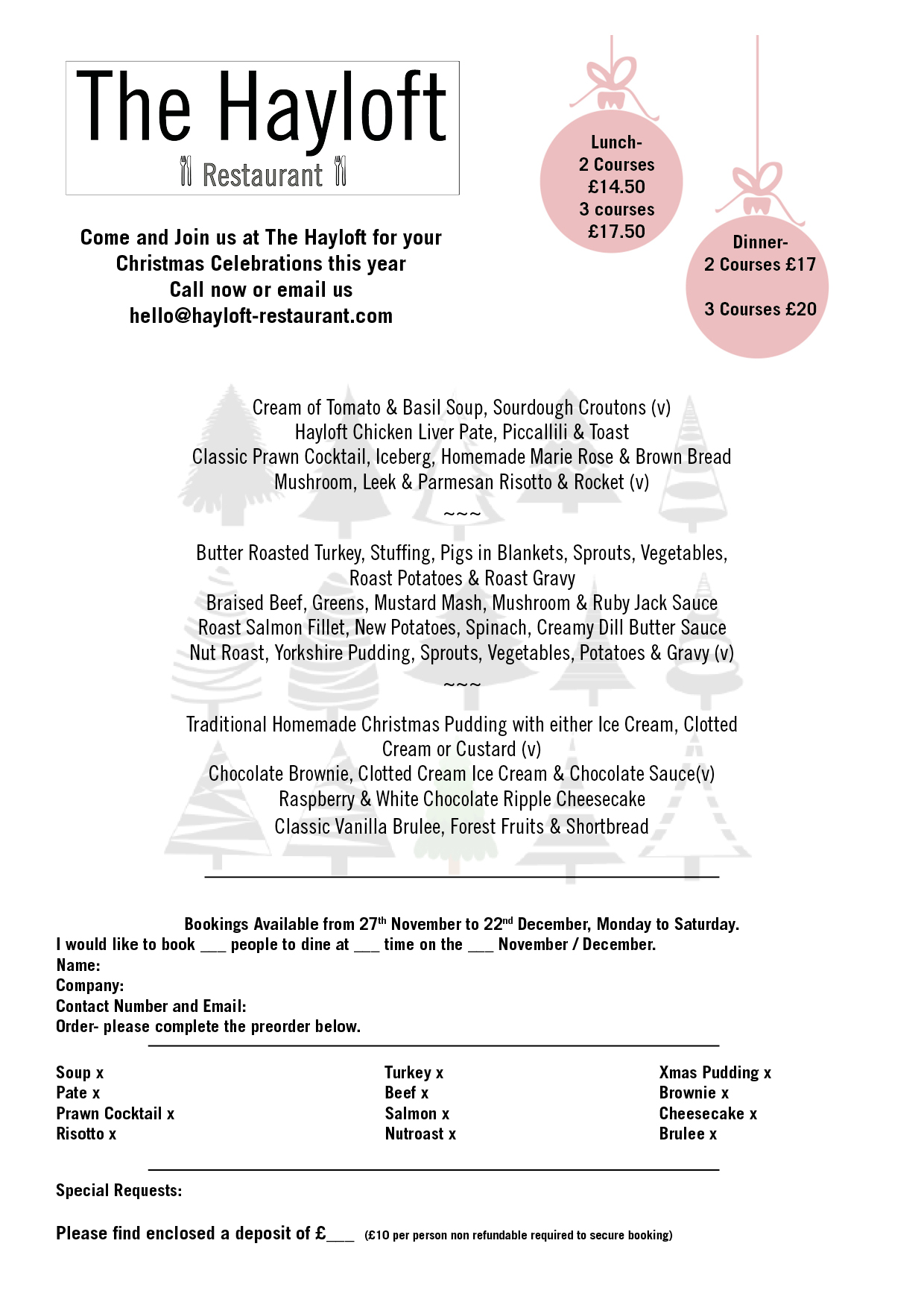 Christmas Party Menus
