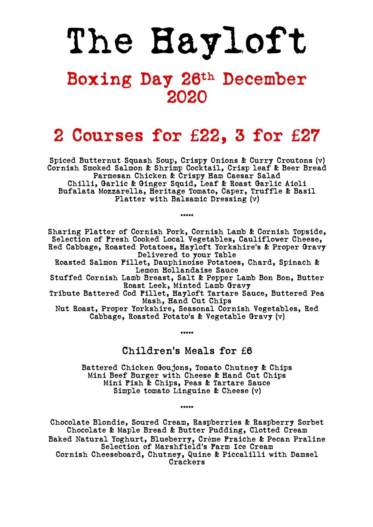 Boxing Day at The Hayloft