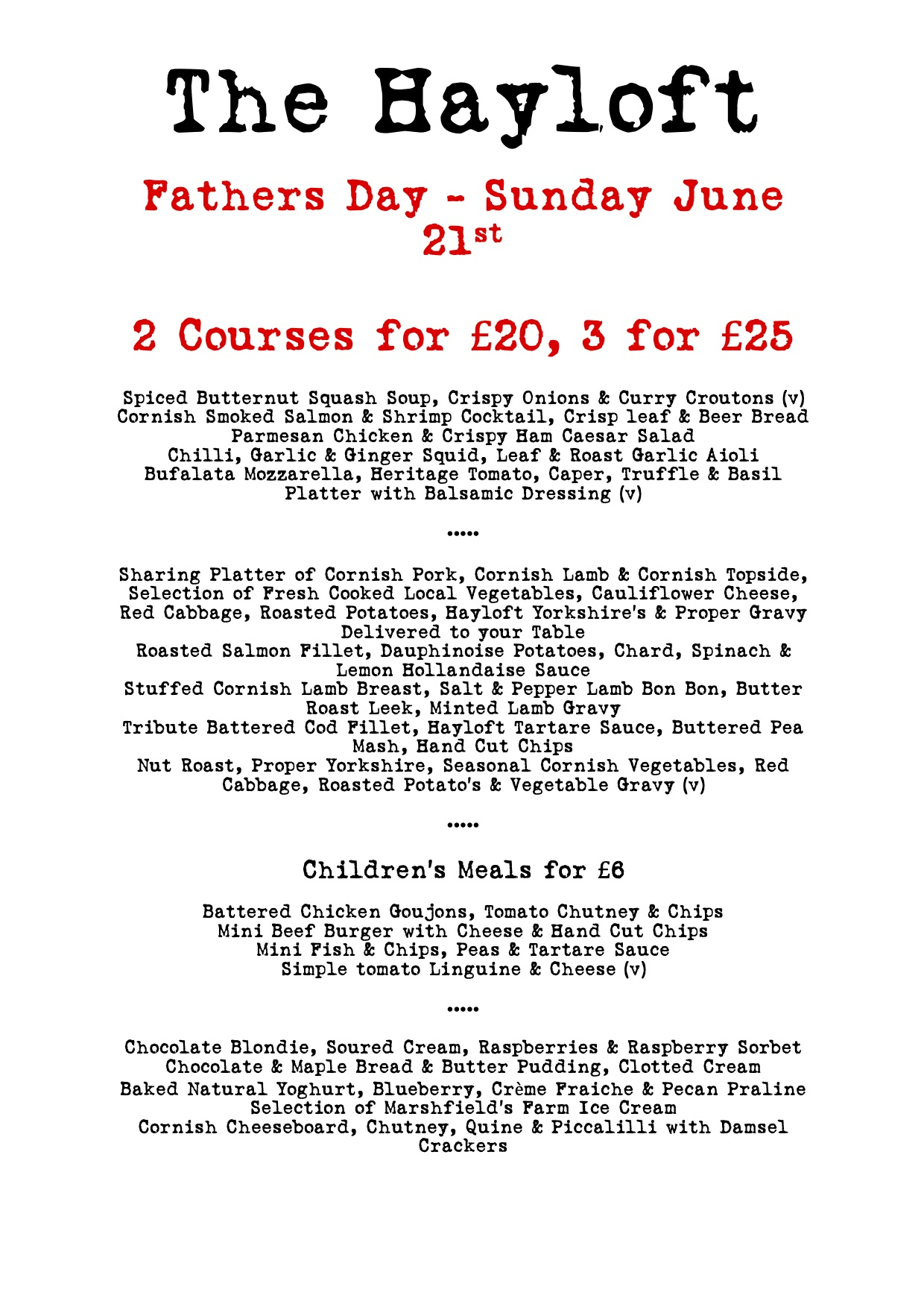 Fathers Day at The Hayloft